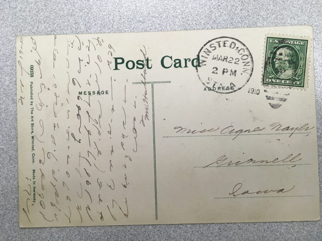 Stamp. Postmark Winsted Conn. 2pm 22 March 1910. Message in shorthand, signed Mrs Hubbard.