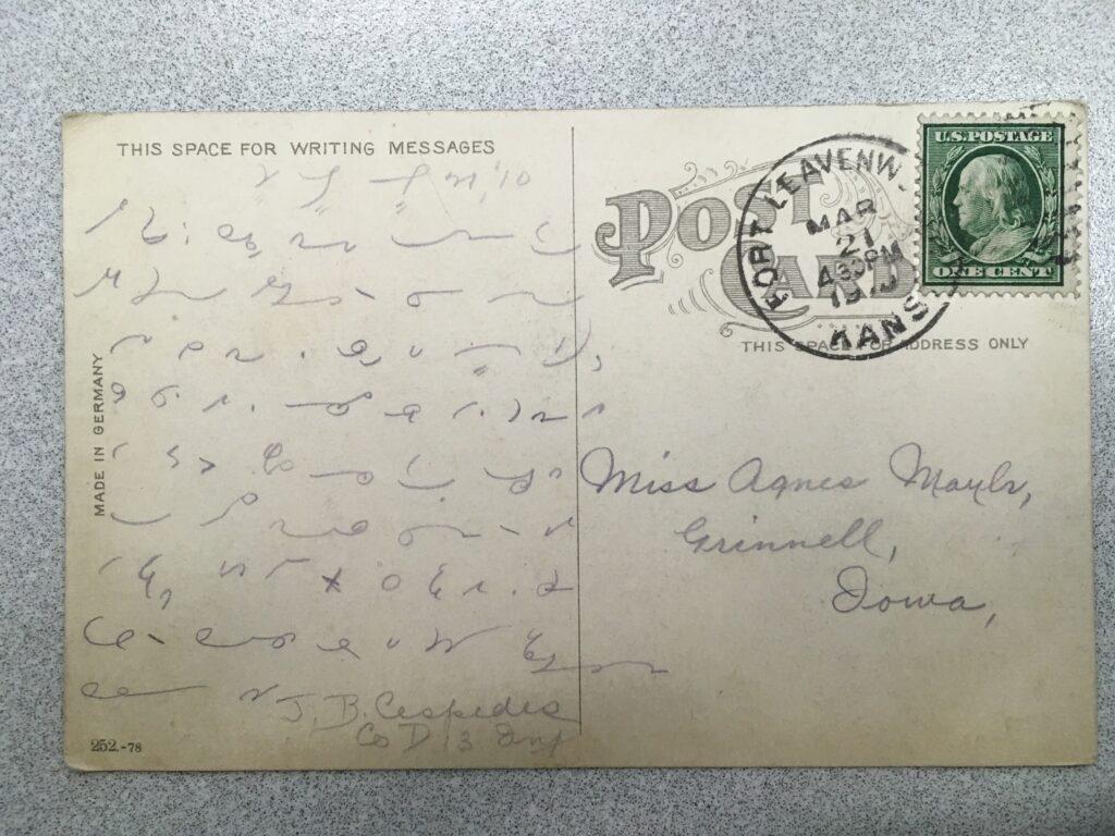 Stamp. Postmark Port Leavenworth Kansas, 4.30 PM 21 March 1910. Message in shorthand. Signed J.B. Cespedes, Co. D. 13 Inf.