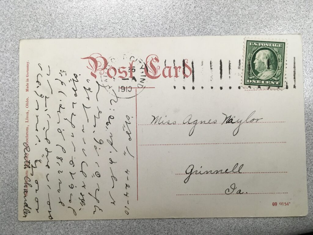 Stamp. Postmark Hartford[?] City Indiana, 25 April 1910. Message in shorthand, signed Ruth Chandler.