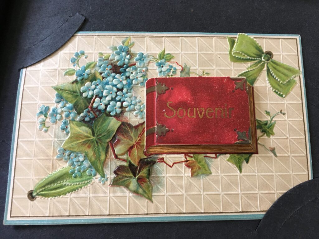 """Postcard with green ribbons, blue flowers, leaves, and a small book about 2"""" wide by 1.5"""" tall with """"Souvenir"""" printed on the front."""
