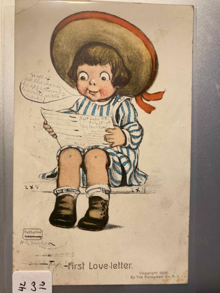 """A young girl in a striped dress and big straw hat sits reading a piece of paper. The caption reads """"First Love-letter."""" As discussed in the post, there are several manuscript additions/alterations."""