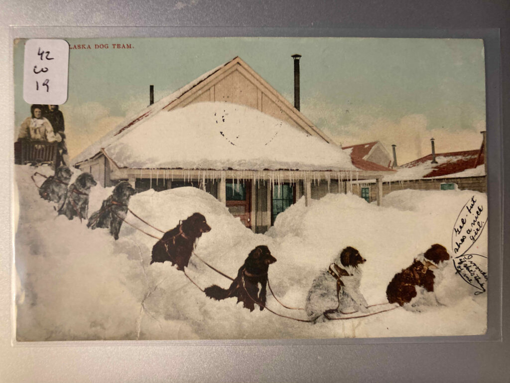 """Seven dogs sitting in snowbanks piled high around a house. They're harnessed to a sled with a white man and white woman in it. Caption at top """"An Alaska Dog Team."""" Manuscript additions: dialog balloons from the lead dog saying """"Gee but shes a nice girl"""" and """"I wonder if she's thinking of me."""""""