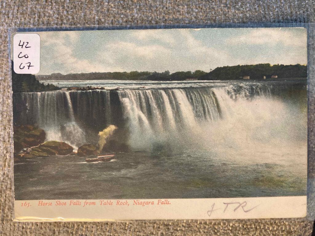 Horse Shoe Falls from Table Rock, Niagara Falls. Signed JTR