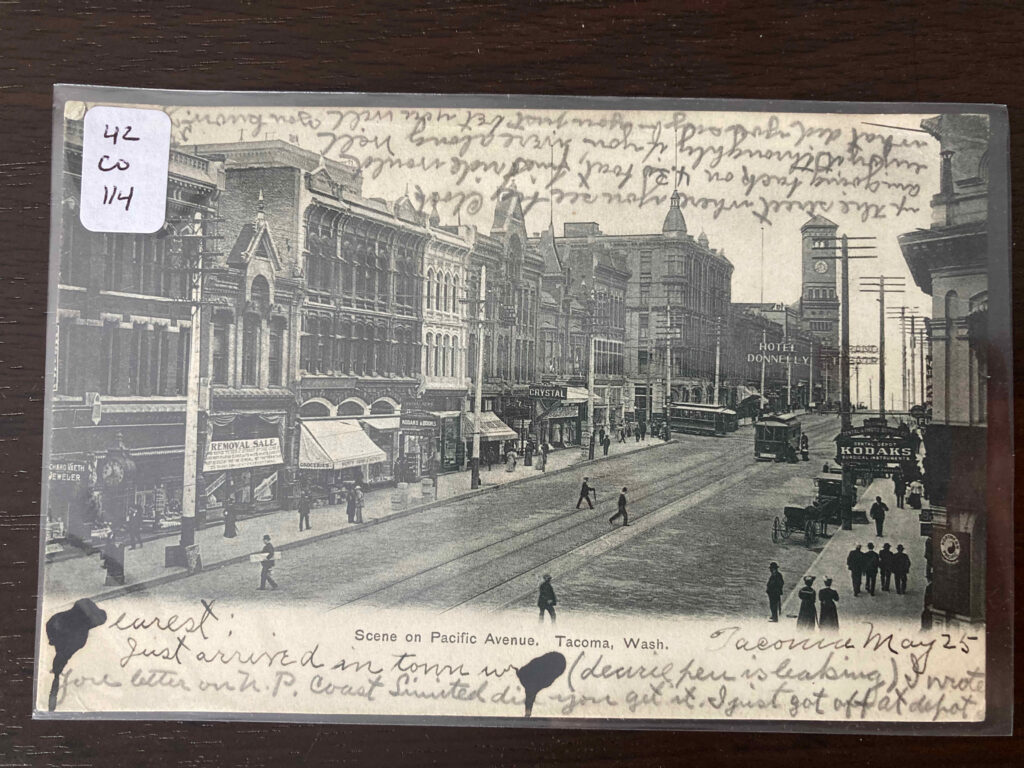 Scene on Pacific Avenue, Tacoma, Wash. see post text for inscription