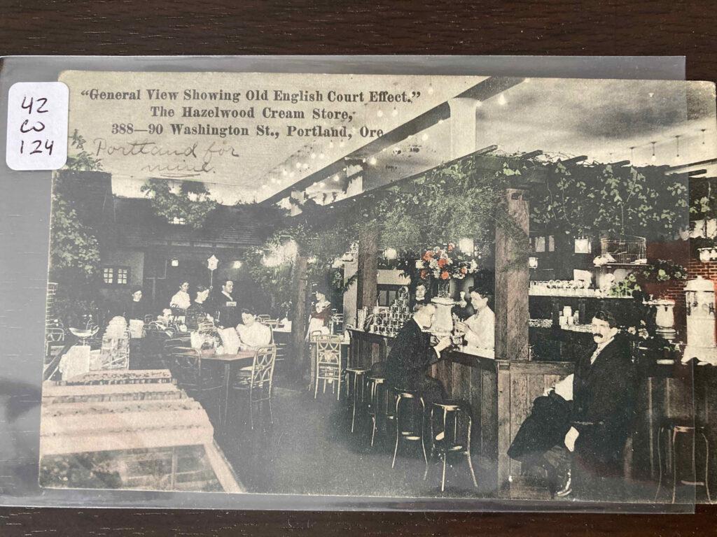 """General View Showing Old English Court Effect"" The Hazelwood Cream Store 388-90 Washington St., Portland, Oregon"