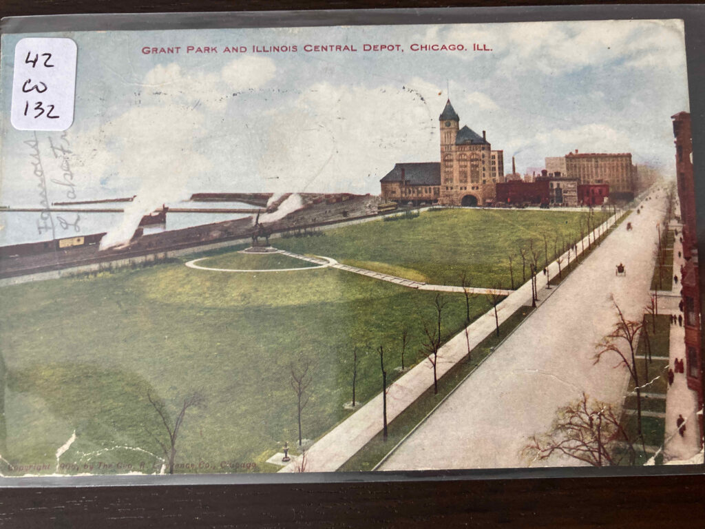 Grant Park and Illinois Central Depot, Chicago, lll. See post for added inscription.