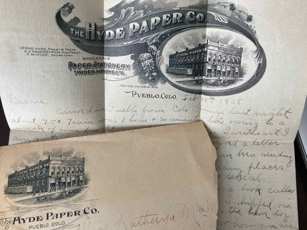 Letter paper and envelope bearing emblems for the Hyde Paper Co. of Pueblo Colorado.