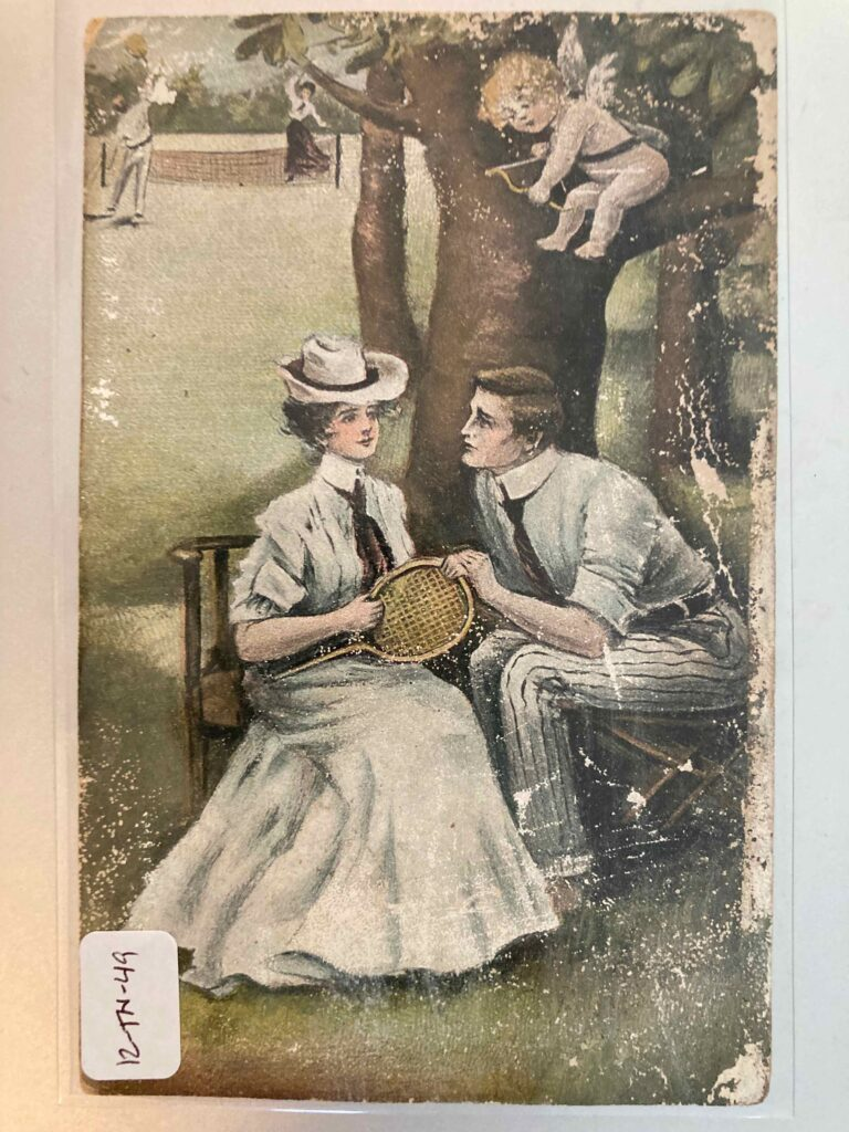 A couple play lawn tennis while another couple meet under a tree. A cupid is in the tree, aiming a bow at the man.