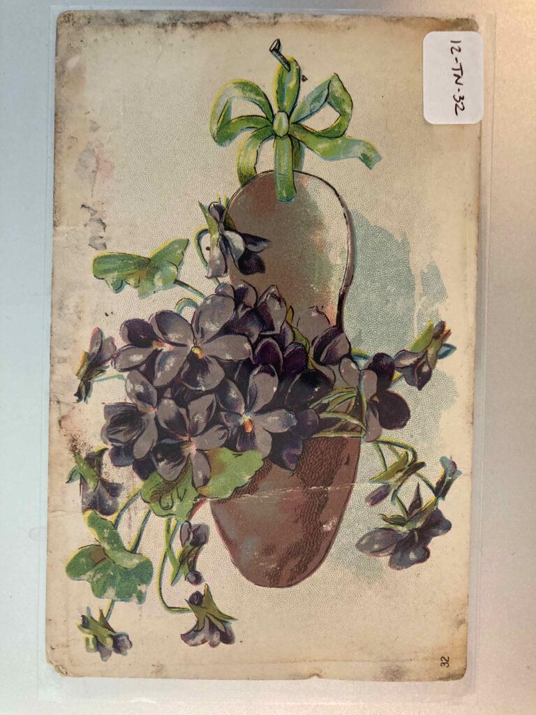 violets in a hanger