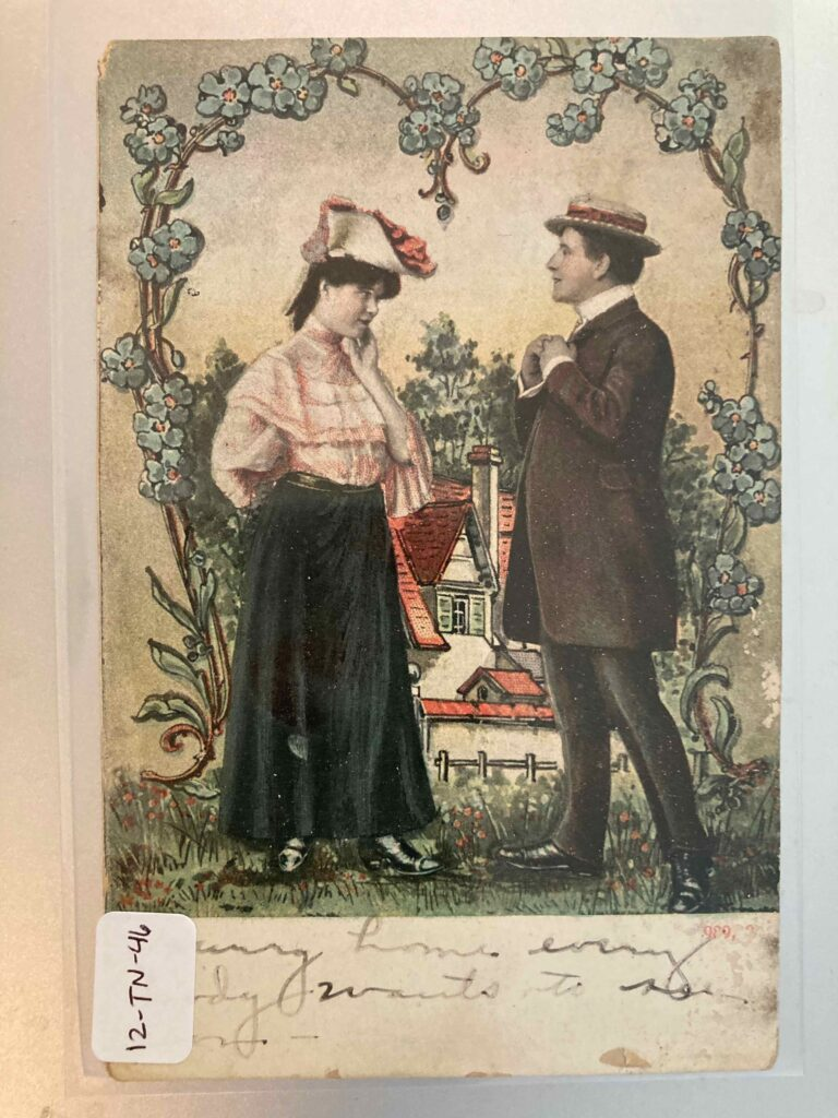 woman and man courting in front of an image of a house and flower bower