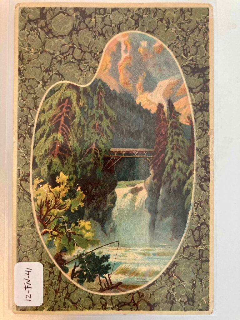 painting of a man fishing in a river, in the background are trees, a bridge over high river falls, mountains, and clouds
