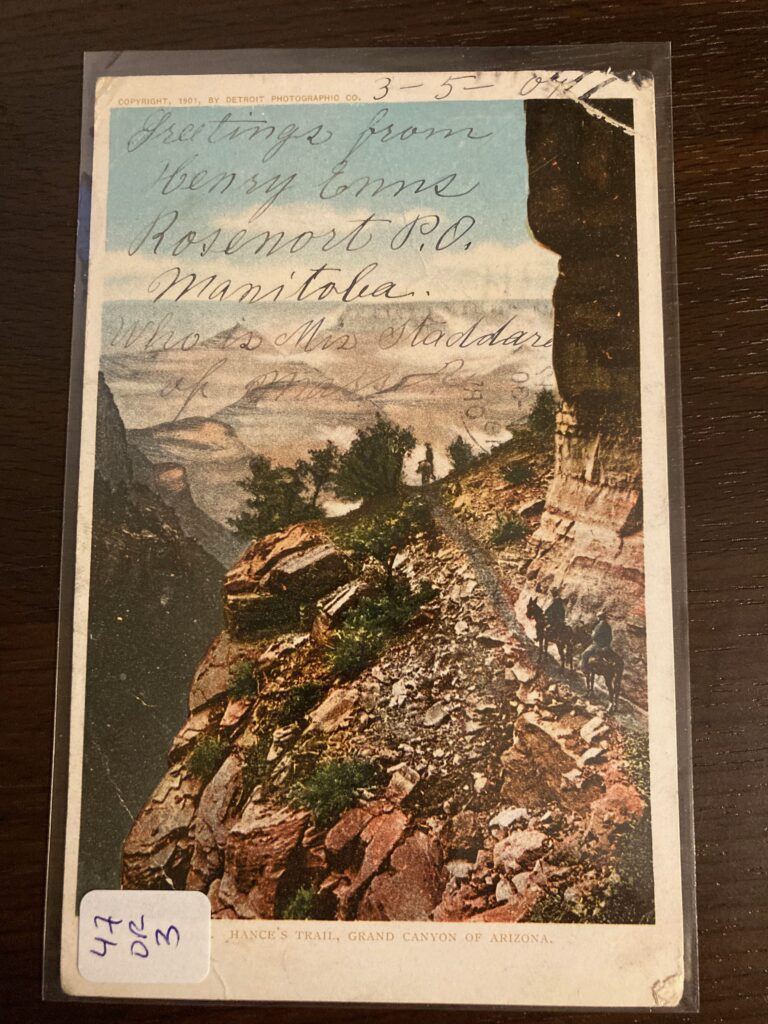 Image of the Grand Canyon, by the Detroit Photographic Co. Handwritten message across top (see body of post)